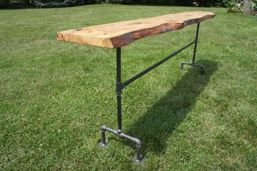 Custom Made Industrial Live Edge Console Table, Handmade In Usa