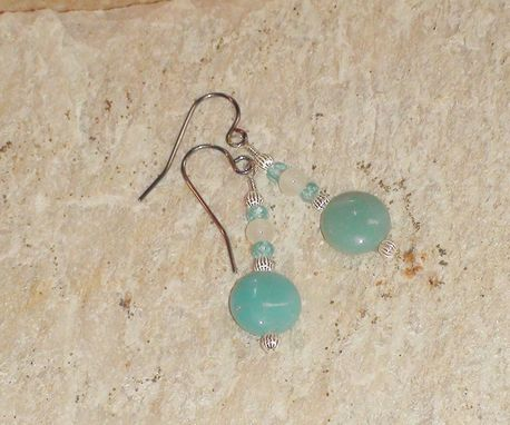 Custom Made Amazonite, Blue Apatite, And Moonstone Earrings In Sterling Silver