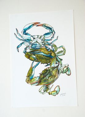 Custom Made Blue Claw Crabs Watercolor Print