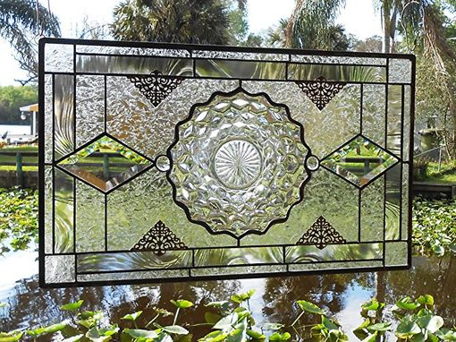 Custom Made Vintage Stained Glass Plate Panel - Depression Glass Fostoria American Window Valance