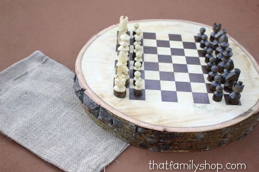 Custom Made Rustic Wood Log Chess Set
