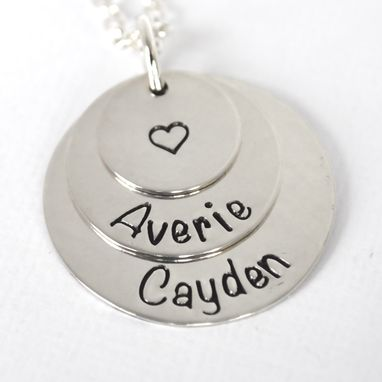 Custom Made Personalized Mother Necklace | Stacked Sterling Silver Discs