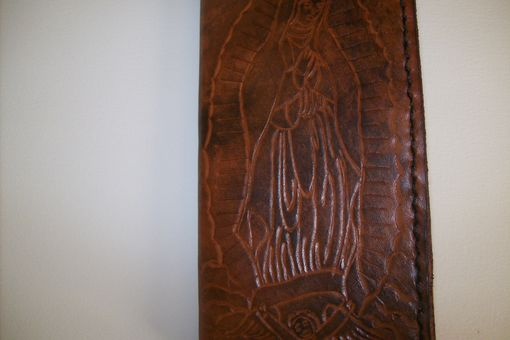 Custom Made Custom Leather Checkbook Cover With Mother Mary In Weathered Color
