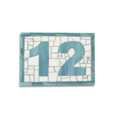 Custom Made Custom Outdoor Mosaic House Number Plaque In Sea Blue And Cream Stained Glass Tiles