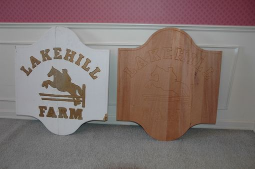 Custom Made Carved Mahogany Farm Sign