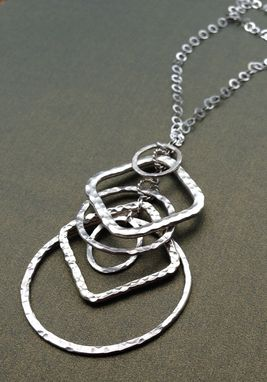 Custom Made Hammered Sterling Silver Custom Square And Circles Necklace And Earring Set