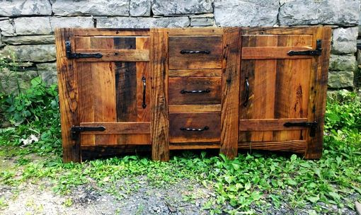 Custom Made Rustic Bathroom Vanity From Reclaimed Wormy Chestnut