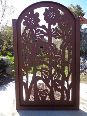 Custom Made Metal Art Gate Sunflower Ranch Farm Ornamental Rust Iron Garden Fantasy