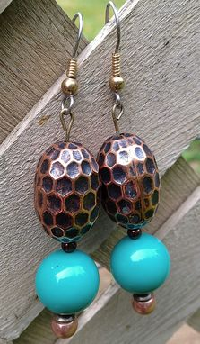 Custom Made Turquoise & Copper Vintage Metalized Plastic Bead Earrings