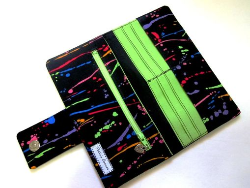 Custom Made Handmade Women Black Wallet With Splashes Of Paint, Bright And Bold Colors