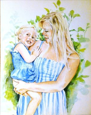 Custom Made Parents And Children In Watercolor
