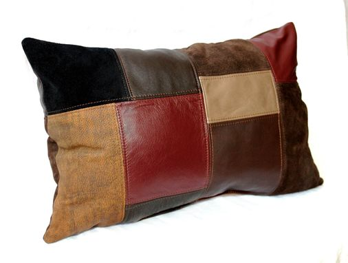 Custom Made Upcycled Leather Patchwork Pillows - Small/Rectangle (21x14)