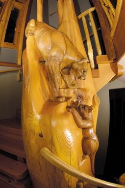"Custom Made Cougar Carving ""Climbing Lesson"""
