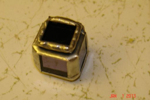 Custom Made Micro Mini Stained Glass Hindged Box In Purple Mirrored 1/2 X 1/2 Glass Squares