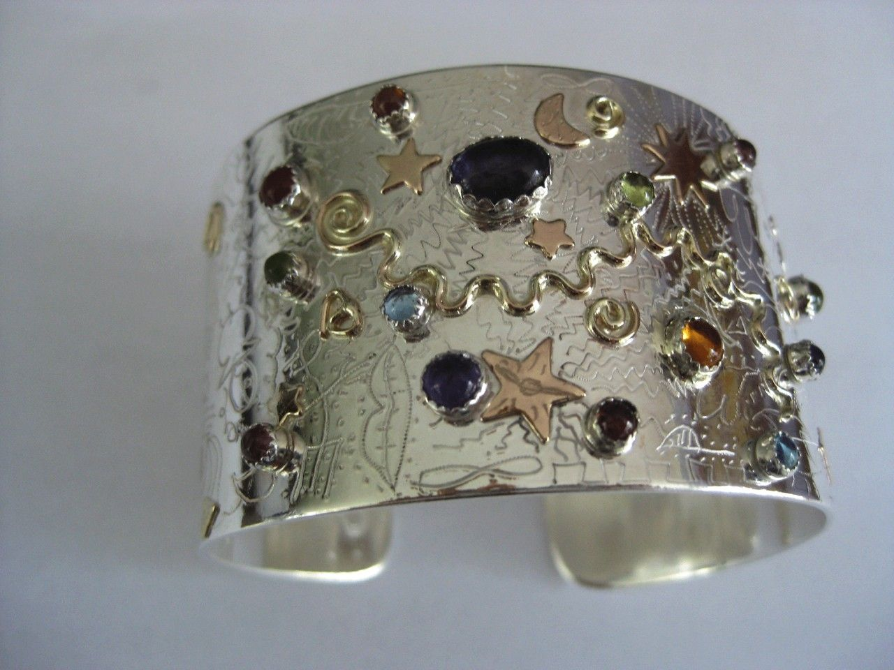 Hand Crafted Sterling Silver And 14k Gold Fill With Semi