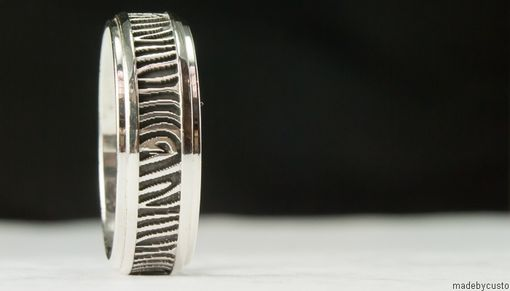 Custom Made Men's Wood Grain Silver Wedding Band