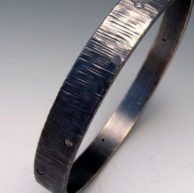 Custom Made Sterling Silver Rain Bangle With Cubic Zirconia Oxidized By Cristina Hurley