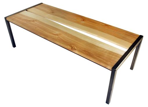 Custom Made Inverted Live Edge Birch And Steel Coffee Table