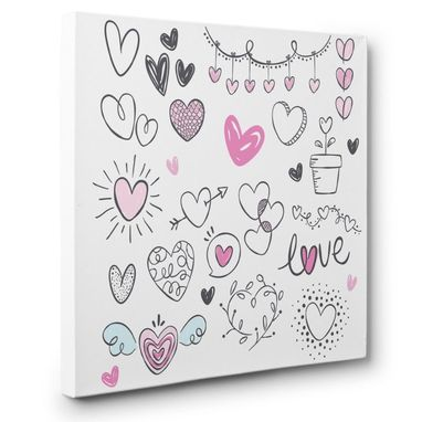 Custom Made Heart Doodles Canvas Wall Art