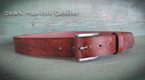 Custom Made Rugged Brown Leather Belt