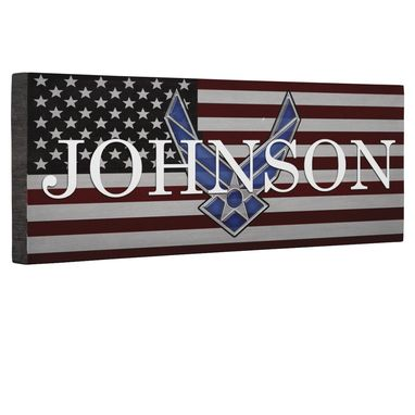 Custom Made Hero Air Force Logo Flag Canvas Wall Art