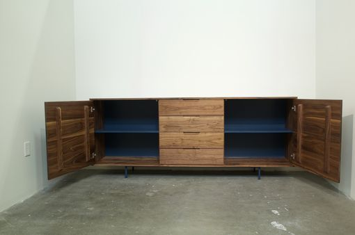 Custom Made Walnut Credenza With Metal Base