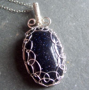 Custom Made Blue Goldstone Wire Wrapped Cab Pendant Necklace