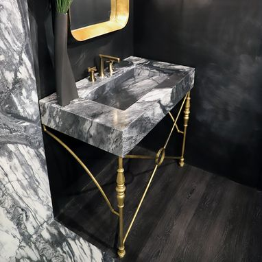 Custom Made Marble & Ornamental Iron Bathroom Vanity