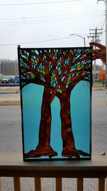 Custom Made P-152 Intertwining Trees- Stained Glass Panel