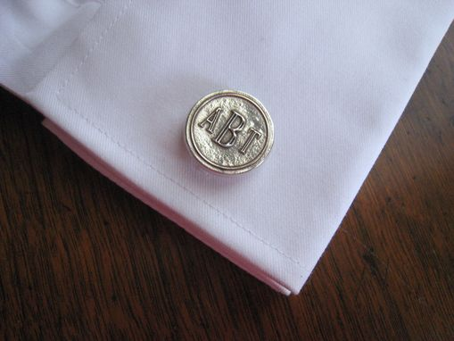 "Custom Made Sterling Silver  ¾"" Diameter Cuff Links With Monogram In Roman Font"