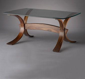 "Custom Made Bent Laminated Coffee Table ""Splayed"""