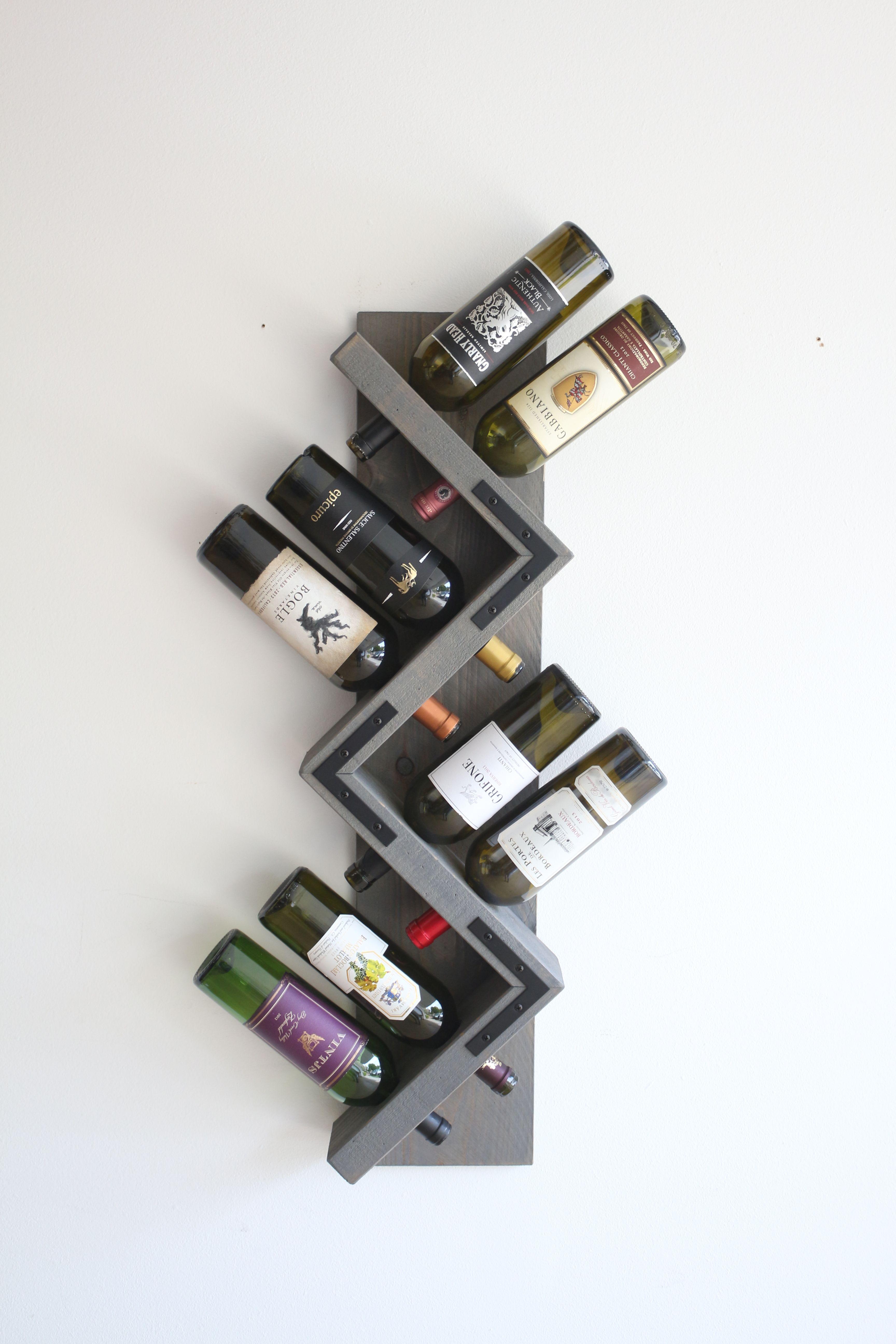 Buy Handmade Zig Zag Rustic Wine Rack Wall Mounted Holds 8 Bottles