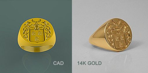 Custom Made 14k Yellow Gold Signet Rings.