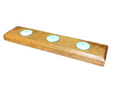 Custom Made Reclaimed Cherry Wood 3-Light Tealight Holder