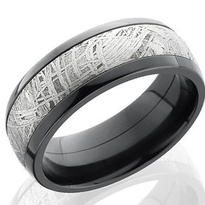 zirconium and meteorite band by serge depoyan - Meteorite Wedding Ring