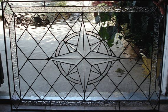 Hand Made Compass Rose Stained Glass Window By