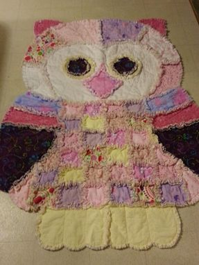 Custom Made Over 5 Foot Tall Owl Shaped Rag Quilt