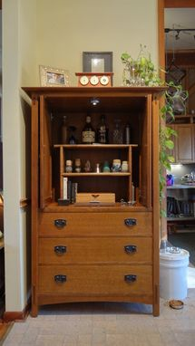 Custom Made Refitting Of Stickley Crt Television Armoire Into A Bar.