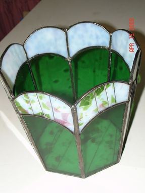Custom Made Stained Glass Flower Pot In Springtime Green With Pink And White Streamer Flowers