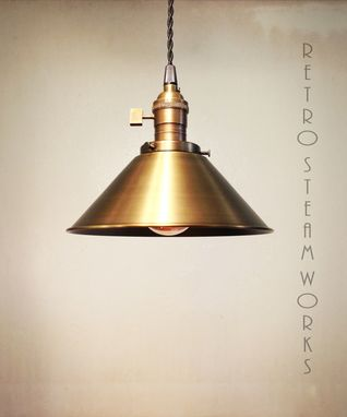 Custom Made Antiqued Brass Pendant Edison Loft Lamp