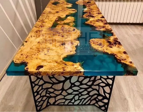 Custom Made Exotic Wood / Epoxy Resin Dining Table