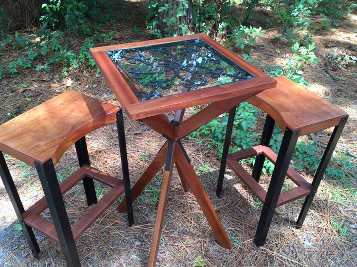 Buy a Handmade Sapele Pub Table Set, made to order from