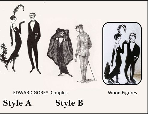 Custom Made Edward Gorey Wood Figures,Edward Gorey Collectibles, Edward Gorey Art,Sculpture,Edward Gorey
