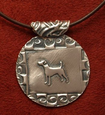 Custom Made Jack Russell Necklace - Medium Round With Abstract Spiral Border