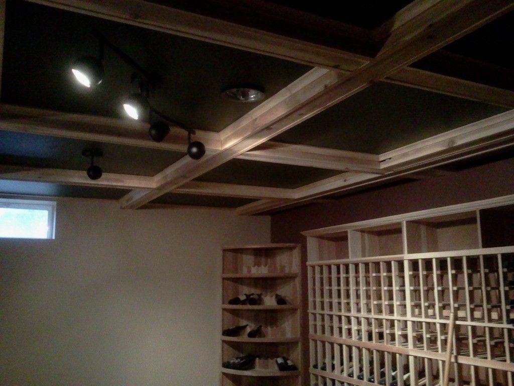 Custom wine cellar box beam ceiling by p t walz co for Box beam ceiling