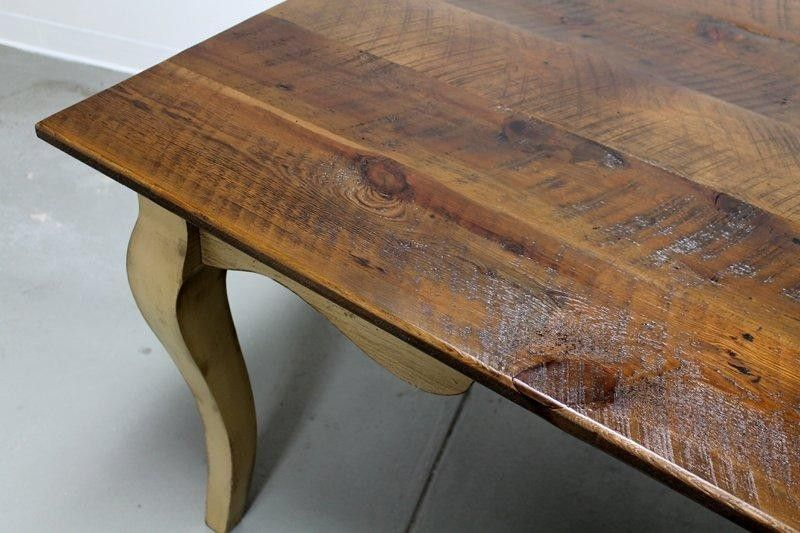 Custom made french style barn wood dining room table with for Unique wood dining room tables