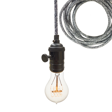 Custom Made Dark Sweater Cloth Cord & Black Bare Bulb Pendant Light