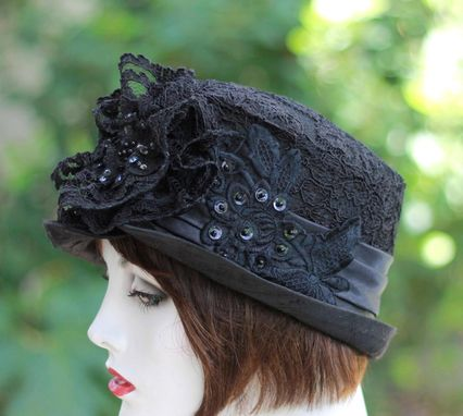 Custom Made Edwardian Vintage Style Hat In Black Lace With Sequins And Beads