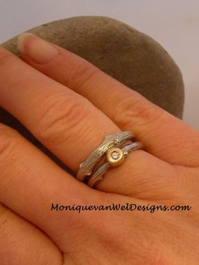 Custom Made Diamond Twig Engagement/Wedding Ring Set In 14k White Gold And Yellow Gold