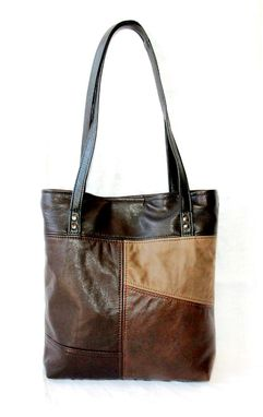 Custom Made Upcycled Leather Tote - The Uptown Tote - Patchwork Design - Small